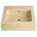 Vasque à poser carrée en pierre naturelle beige égyptien
