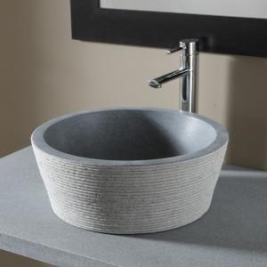 Vasque en pierre 100% naturelle bouchardée - coloris gris ardoisé
