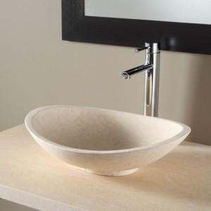 Vasque à poser ovale en pierre naturelle - beige egyptien
