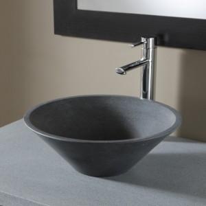Vasque à poser ronde évasée en pierre naturelle - coloris gris