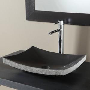 Vasque à poser en pierre 100% naturelle de couleur noir absolu