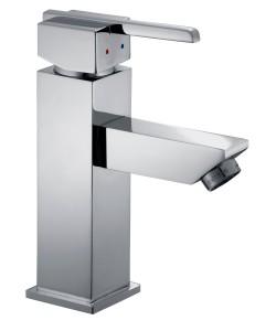 Mitigeur de lavabo design, en laiton chromé, avec aérateur mousseur, planetebain