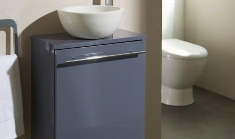 Meuble lave-mains bol gris souris, meuble lave-mains, meubles lave-mains, meuble lave mains planetebain