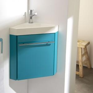 Meuble lave-mains d'angle bleu, meuble lave-mains, meubles lave-mains, meuble lave mains planetebain,