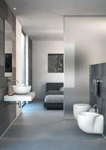 chambre et salle de bain ouverte, salle de bains ouverte, coin eau dans la chambre, cloison en verre, salle de bains séparée par cloison en verre