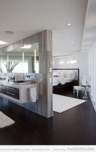 chambre et salle de bain ouverte, salle de bains ouverte, coin eau dans la chambre