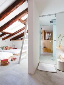 salle de bains ouverte, salle de bain ouverte sur la chambre, salle de bains et chambre, salle de bains en retrait, salle de bain en retrait