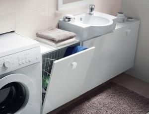 meuble panier à linge, meuble gain de place, panier à linge salle de bains, meuble gain de place planetebain