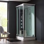 une cabine avec un plafond douche
