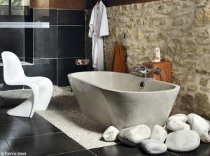 idée salle de bain zen - pierre