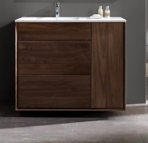 meuble de salle de bain à suspendre 100 cm en noyer massif