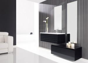 Meuble de salle de bain capiton 99cm noir laqué + complément
