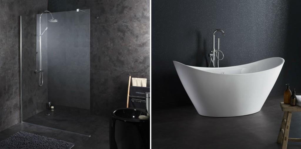 douche - bain noir et blanc planetebain