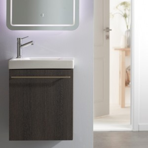 Meuble lave-mains en mélaminé avec un décor de bois wengé
