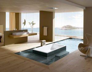 salle de bain avec sol en parquet