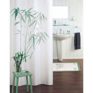 rideau de douche avec bambous