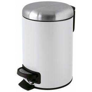 une poubelle blanche pour salle de bain