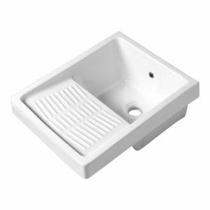 un bac à laver blanc
