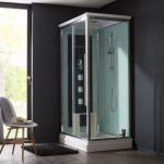 une cabine de douche hydromassante