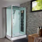 une cabine de douche avec effet cascade
