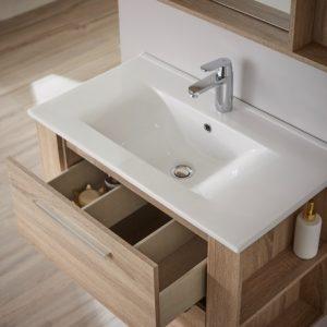 ensemble meuble avec vasque et miroir style chêne
